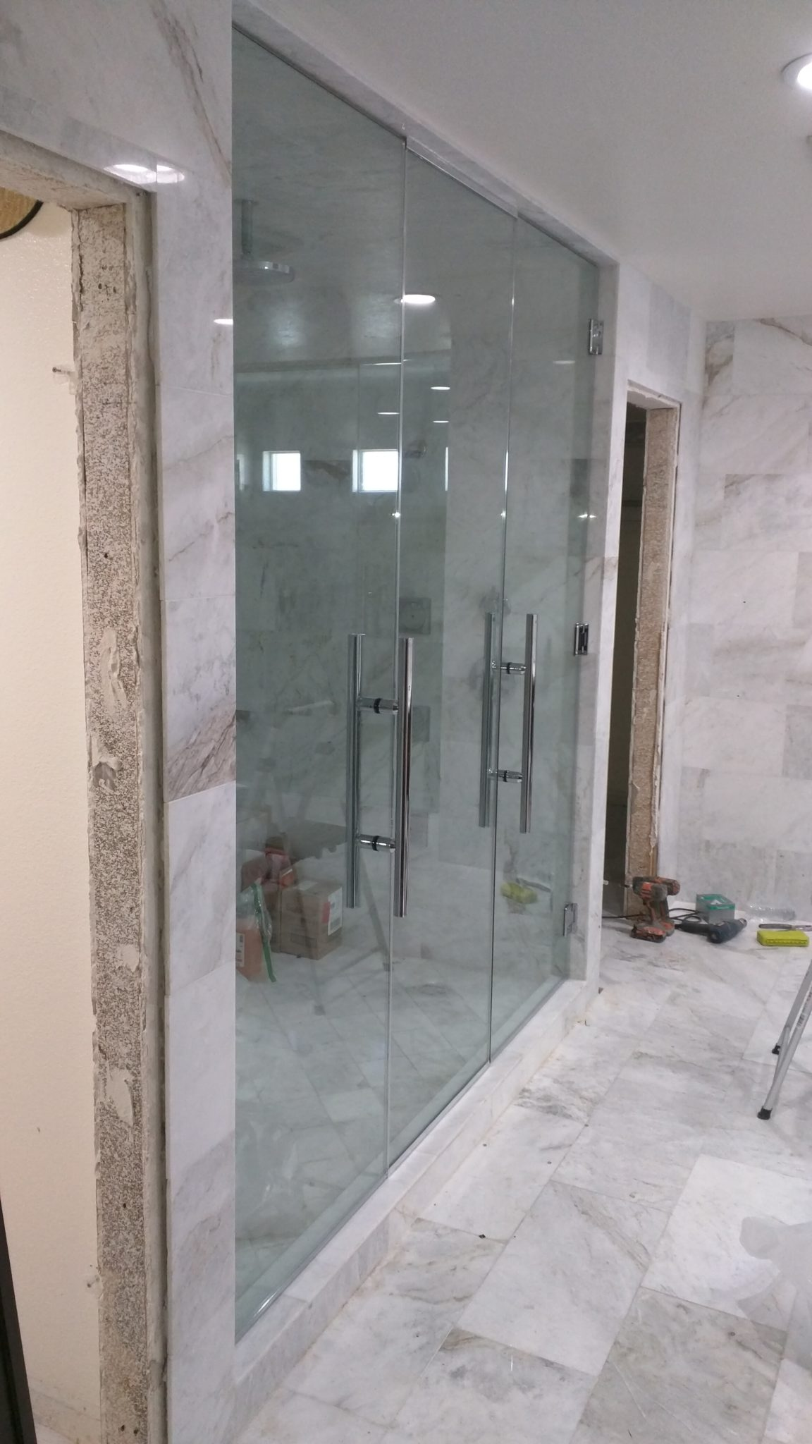Frameless glass shower doors a cutting edge glass mirror custom double shower door enclosure system a cutting edge glass mirror planetlyrics Image collections