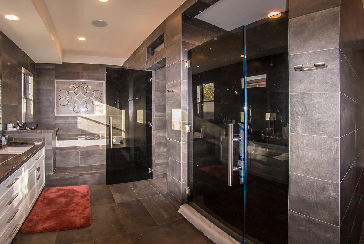 Custom Residential Gray Tempered Glass Shower Door Enclosure