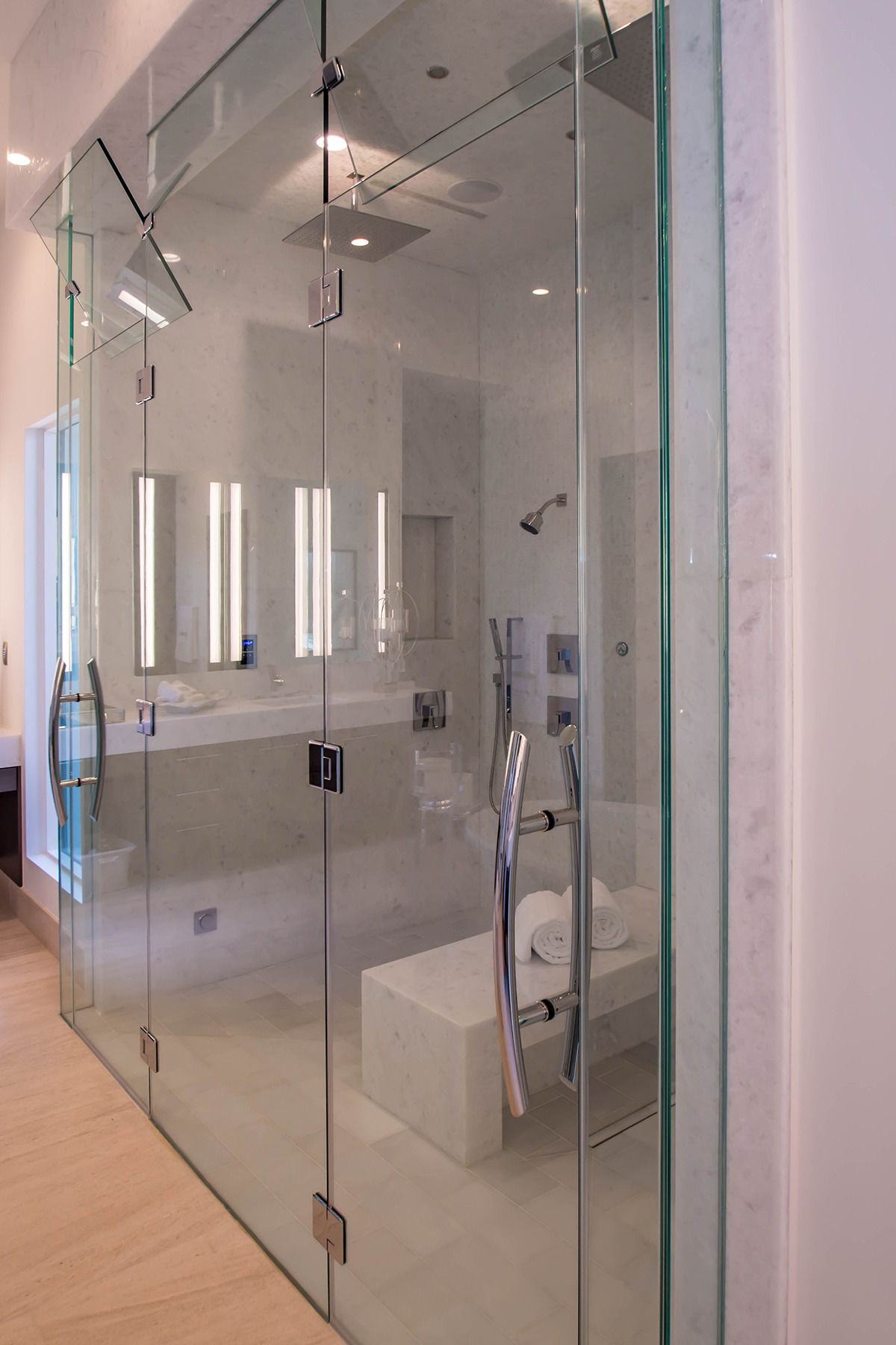 Custom glass for a sunwest custom home build a cutting for Master bathroom door
