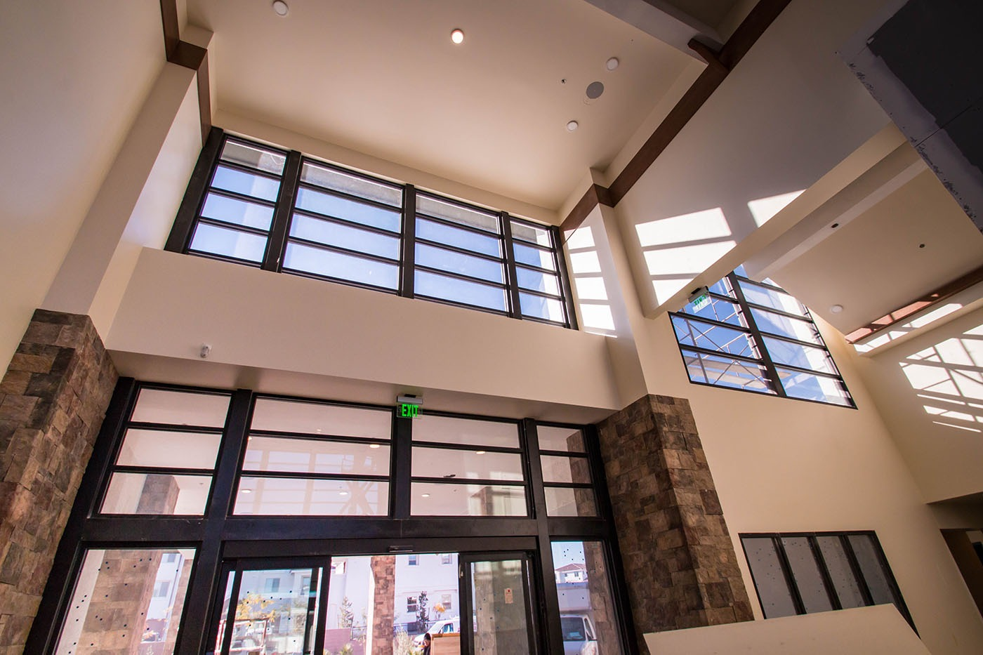 Beautiful Light Airy Glass Entryway Castile Apartments Front With Break Metal Cladding