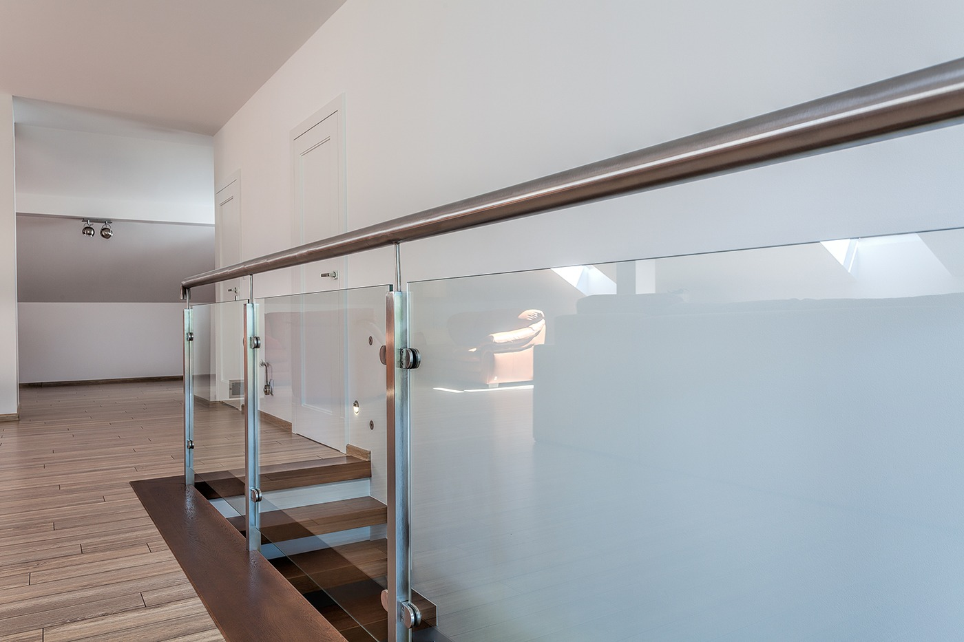 Residential glass staircase railing systems a cutting